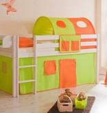 Halfhoogslaper Malte - massief grenen - wit gelakt - kleur groen-oranje - zonder tunnel