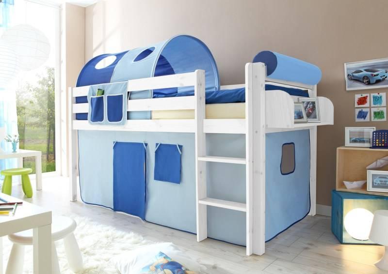 Halfhoogslaper Malte - massief grenen - wit gelakt - kleur lichtblauw-donkerblauw - zonder tunnel