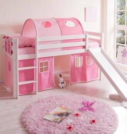 Halfhoogslaper met glijbaan Manuel - grenen - roze-pink