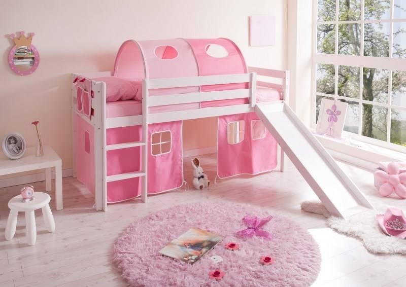 Halfhoogslaper met glijbaan Manuel - massief grenen - wit gelakt - kleur roze-pink - zonder tunnel