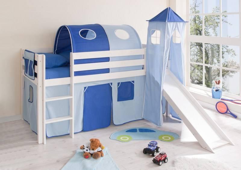 halfhoogslaper met glijbaan en toren kasper massief grenen wit gelakt kleur lichtblauw. Black Bedroom Furniture Sets. Home Design Ideas