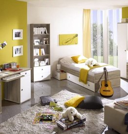 Kinder/-Puberkamer Vicky - sonoma/eiken - gedeeltelijk wit gelakt - kledingkast met spiegel