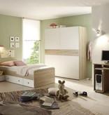 Complete kinderkamer Vicky - sonoma/eiken imitatiehout - gedeeltelijk wit gelakt - kledingkast met zwevende deuren