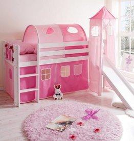 Halfhoogslaper met glijbaan en toren Kasper - grenen - roze-pink
