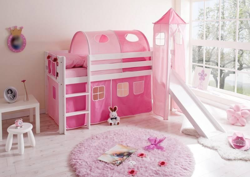 Halfhoogslaper met glijbaan en toren Kasper - massief grenen - wit gelakt - kleur roze-pink - zonder tunnel