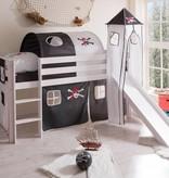 Halfhoogslaper met glijbaan en toren Kasper - Piraat zwart/wit - wit gelakt - massief grenen - Copy