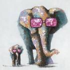 Schilderij Elephants Love 90x90cm