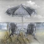 Schilderij Strand met stoelen 100x100cm