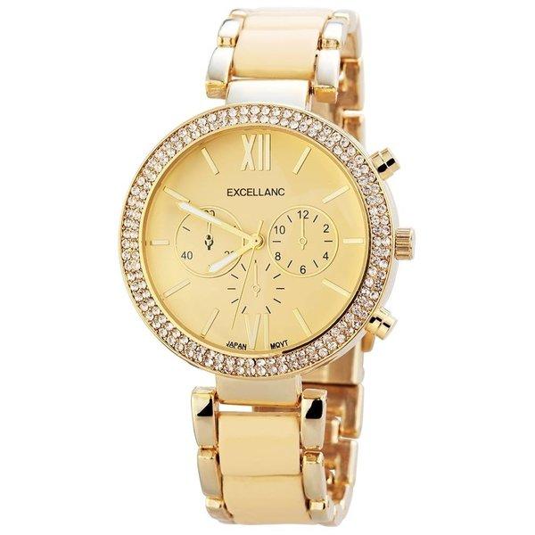 Goldene Uhr mit Metallarmband - beige
