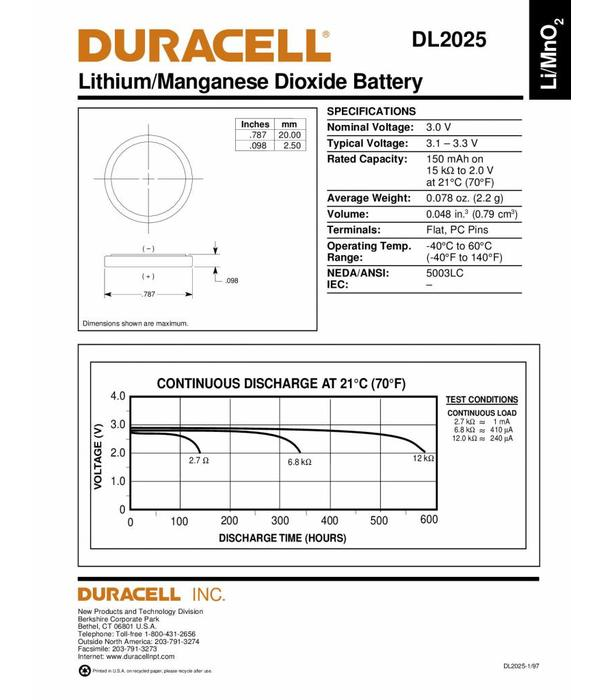 Duracell Knoopcel batterij Lithium CR2025 blister 1