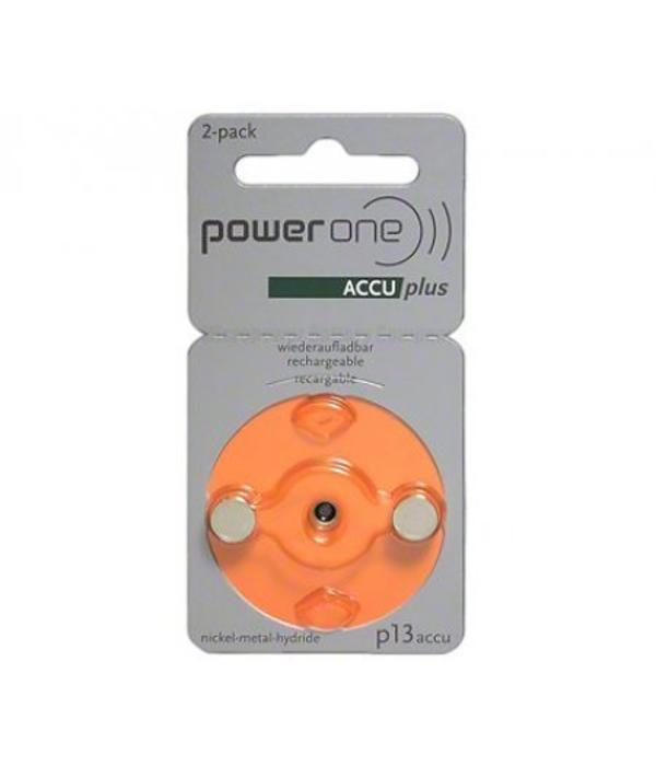 PowerOne 2 stuks P13 Oranje PowerOne oplaadbare hoorbatterijen accuplus Ni-MH