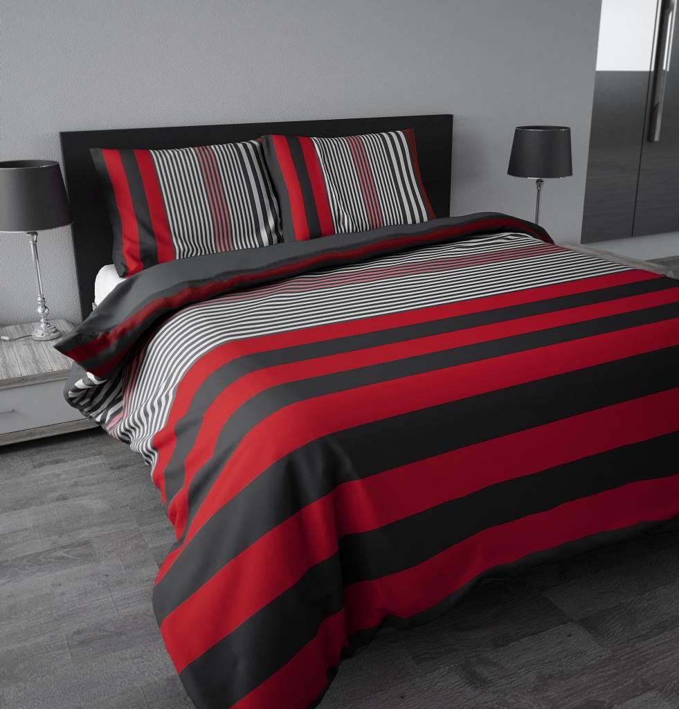 Dekbedovertrek rood en grijs gestreept bedlinnenexpert - Kamer in rood en grijs ...