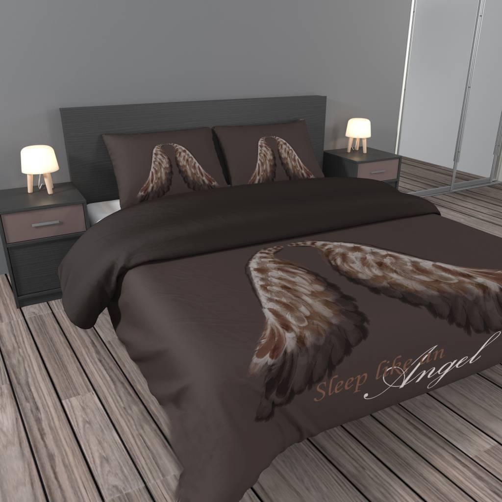 Dekbedovertrek katoen satijn aanbieding met vleugels van engelen in bruin   Bedlinnenexpert