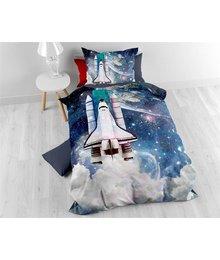 Sleeptime Kinderdekbedovertrek astronaut eenpersoons in hemelse blauwe tinten