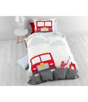Sleeptime kinderdekbedovertrek met rood brandweer