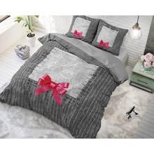 Sleeptime katoen dekbedovertrek ''true love'' grijs met roze strik