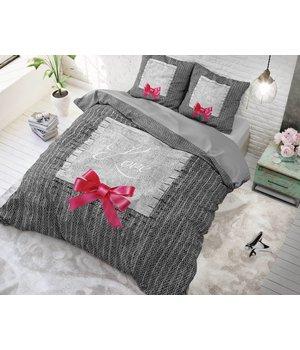 Sleeptime katoen dekbedovertrek ''true love'' grijs met roze strik lits jumeaux aanbeiding