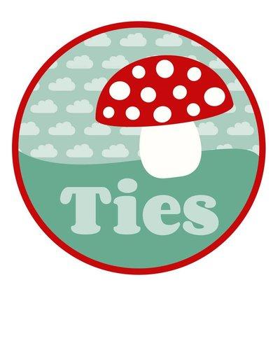 Muursticker paddenstoel met naam