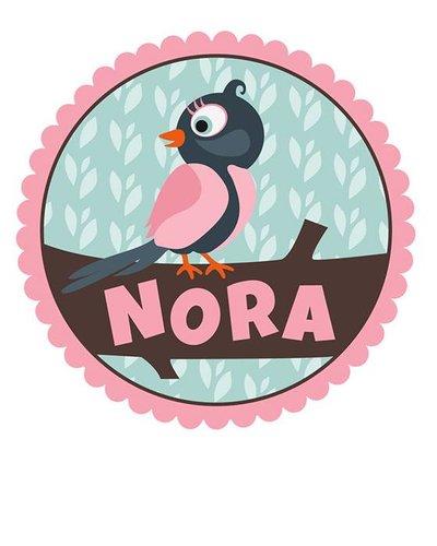 Muursticker vogel roze met naam