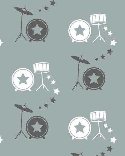 Behang muziek met drumstel