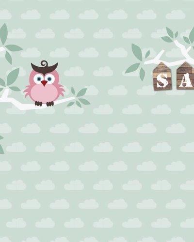 Behang boom en uil roze