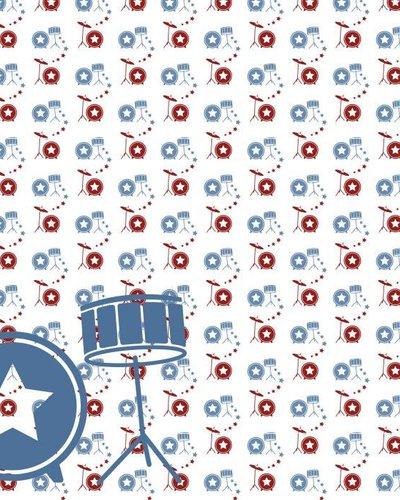 Behang muziek met drumstel rood blauw
