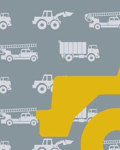 Behangpaneel auto's met graafmachine grijs