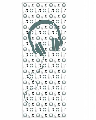 Behangpaneel muziek met gitaar en koptelefoon groen wit