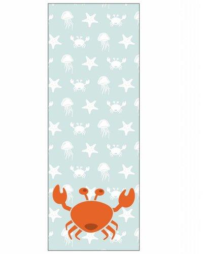 Behangpaneel zeedieren met krab blauw