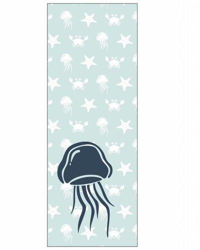 Behangpaneel zeedieren met kwal blauw