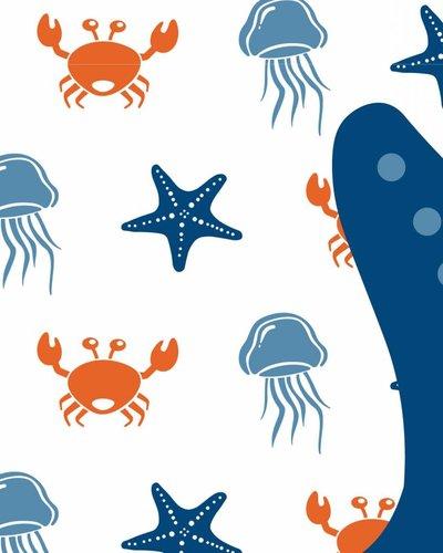 Behangpaneel zeedieren met zeester oranje blauw