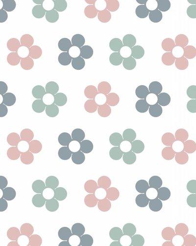 Behang bloemen roze grijs