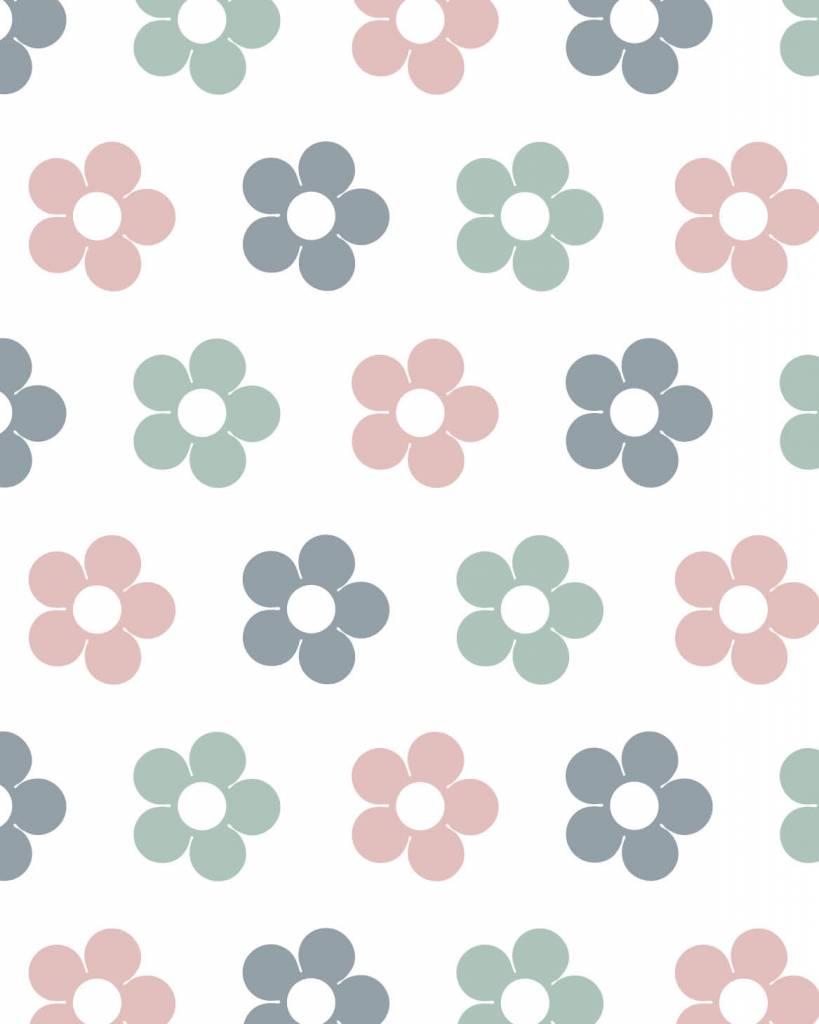 Super Behang bloemen roze grijs - Tinkle&Cherry &WC41