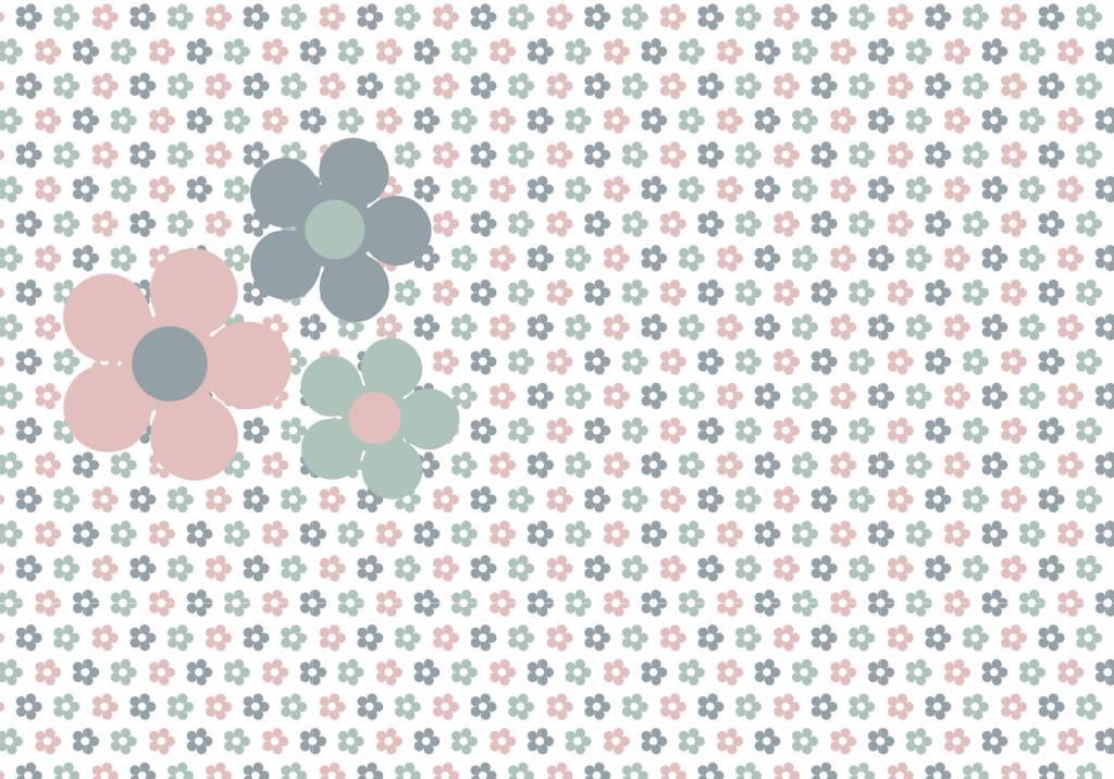 Extreem Behang bloemen roze grijs - Tinkle&Cherry RU39