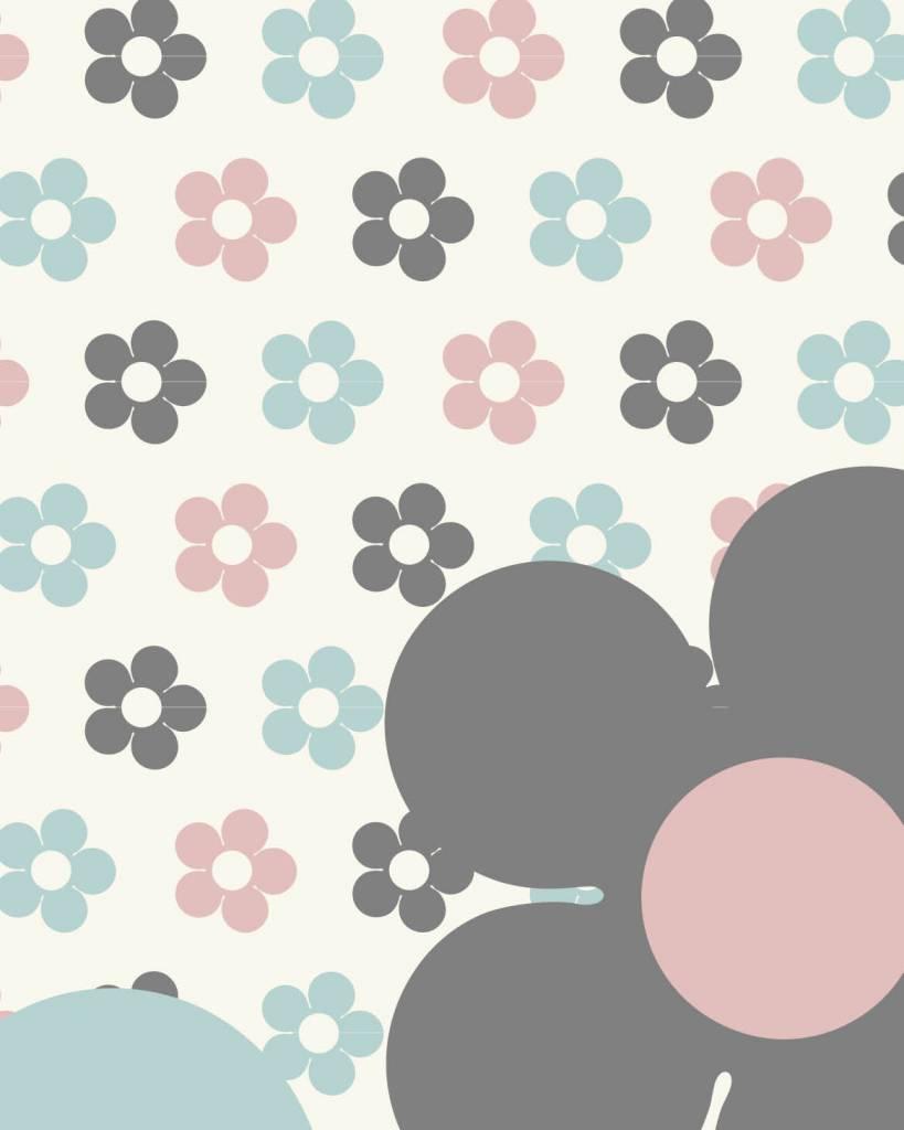 Beroemd Behang bloemen blauw roze - Tinkle&Cherry #VL47