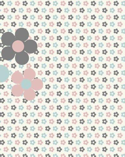 Behang bloemen blauw roze
