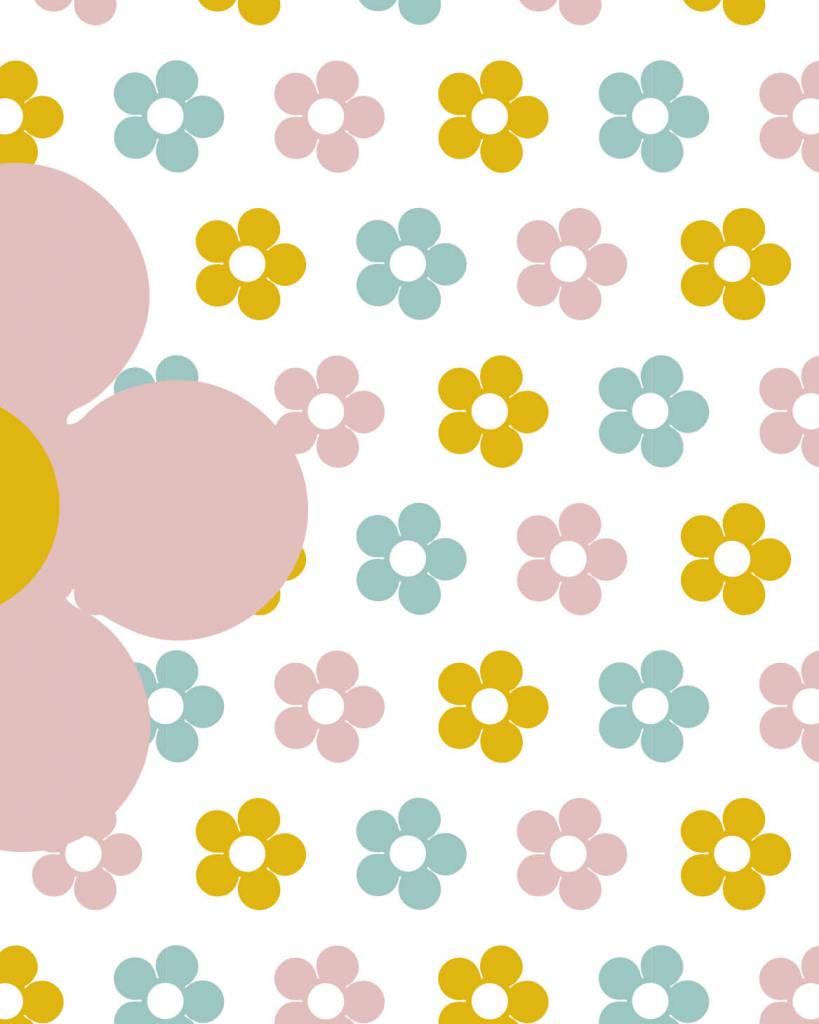 Voorkeur Behang bloemen geel roze - Tinkle&Cherry FY22