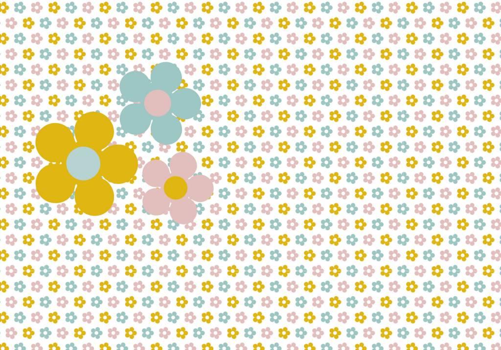 Behang bloemen geel roze - Tinkle&Cherry