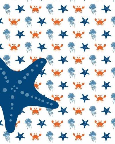 Behang zeedieren met zeester oranje blauw