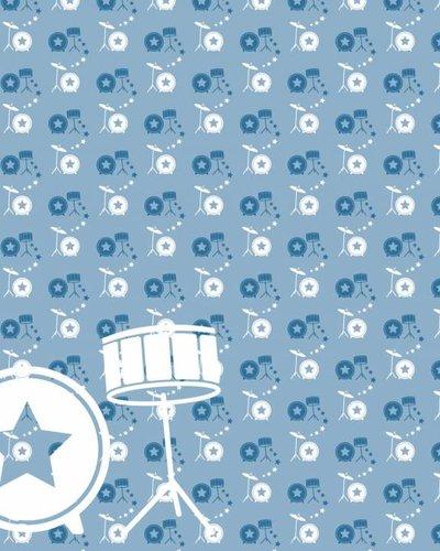Behang muziek met drumstel blauw