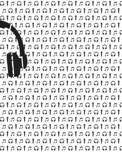 Behang muziek met microfoon en koptelefoon zwart wit - Tinkle&Cherry
