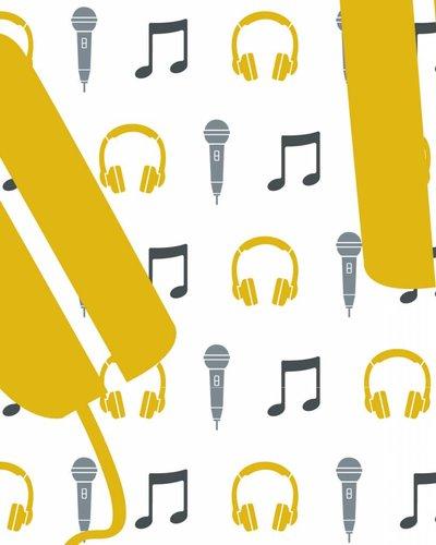 Behang muziek met microfoon en koptelefoon geel wit