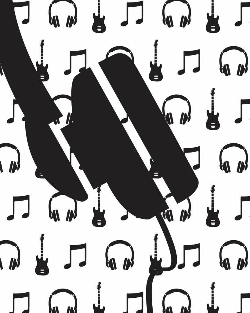 Behang muziek met gitaar en koptelefoon zwart wit - Tinkle&Cherry