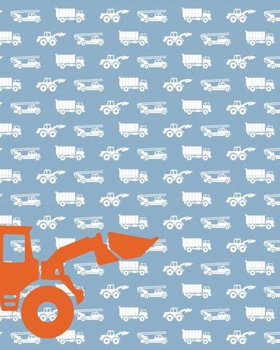 Behang auto's met graafmachine blauw