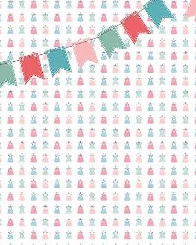 Behang jurkjes met vlaggenlijn roze groen