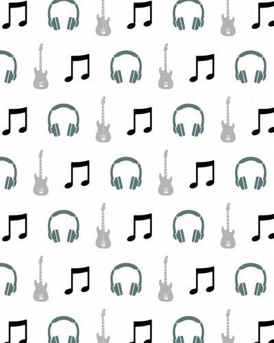 Behang muziek met gitaar en koptelefoon groen wit