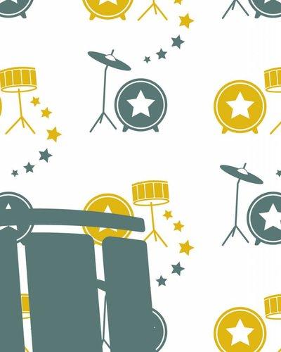 Behangpaneel muziek met drumstel geel groen