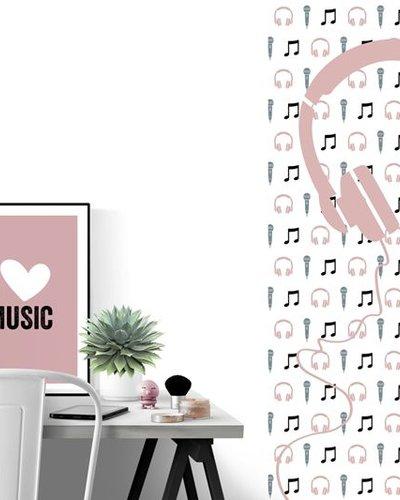 Behangpaneel muziek met microfoon en koptelefoon roze wit