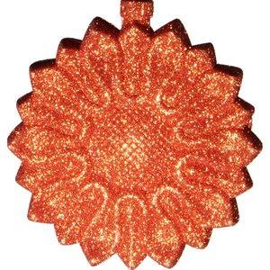 bloemornament ca 8cm rond glitter oranje