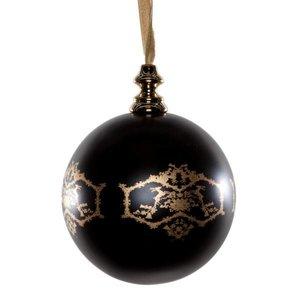 6x MW design kerstballen 10cm rond zwart